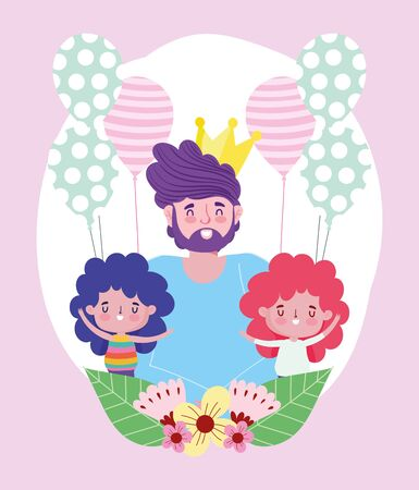 happy fathers day, dad with little boys and balloons decoration flowers vector illustration