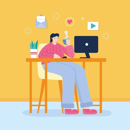 young woman with coffee cup and laptop on desk networking vector illustration