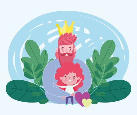 happy fathers day, dad with crown hugging a son, hearts love vector illustration