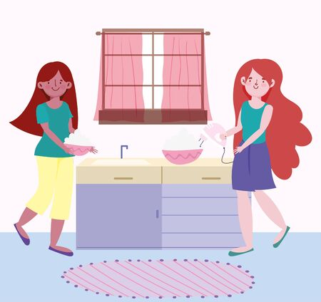 people cooking, girls with electric mixer cream and bowl in the kitchen vector illustration