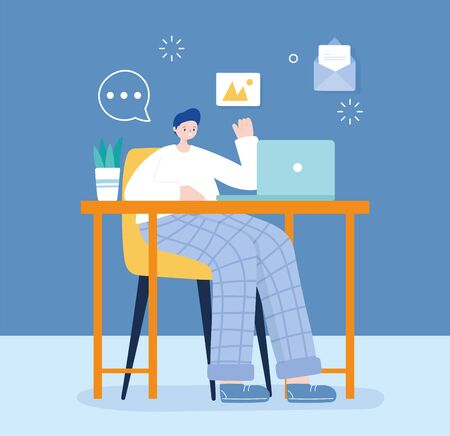 young man sitting at chair using laptop texting chatting social media vector illustration Stock fotó - 147586019