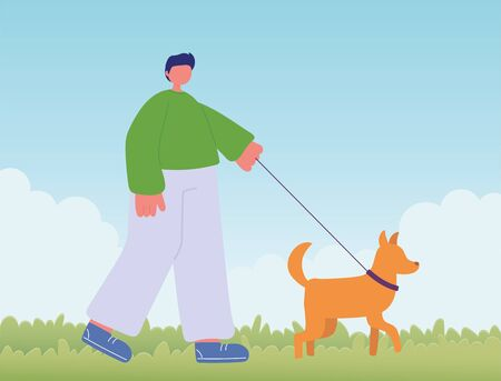 young man with dog walking Ilustrace