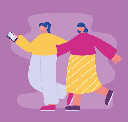 two friends girls walking with mobile in hand vector illustration Vectores