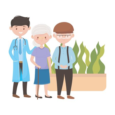 Doctor old woman man and plant inside pot vector design Illustration