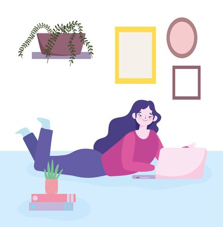 working remotely, young woman in floor with laptop books plants 向量圖像