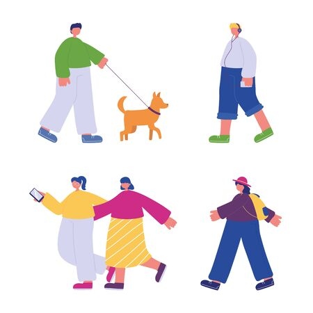 people walking, characters with smartphone backpack and dog