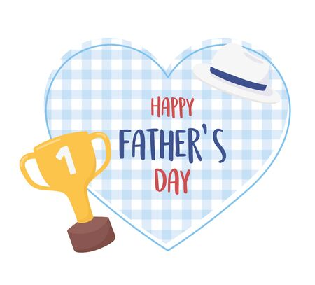happy fathers day, hat and trophy on checkered background heart Vectores