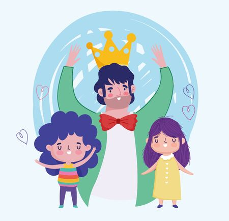 happy fathers day, celebrating dad with crown and kids cartoon Vectores