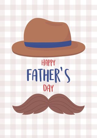 happy fathers day, moustache and classic hat decoration 版權商用圖片 - 147587546