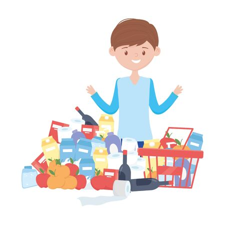 Man shopping with basket and products vector design Vettoriali
