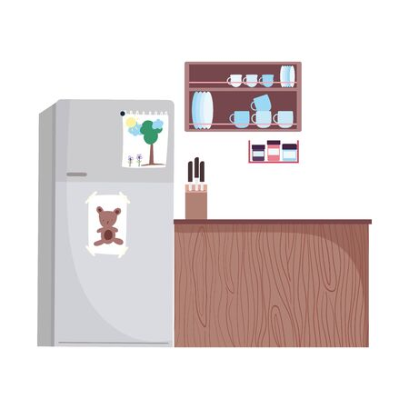 kitchen interior shelf with tableware knives and fridge design