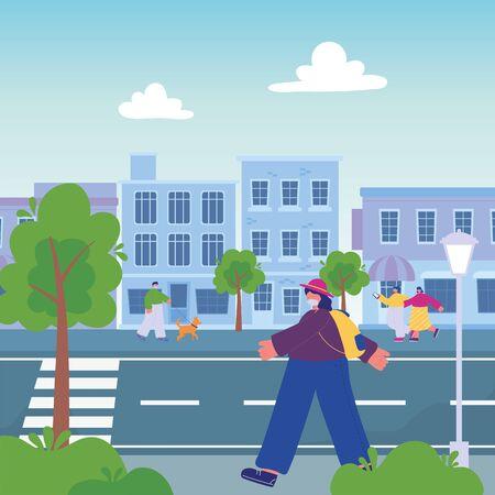 people walking street urban , walk with dog and smartphone