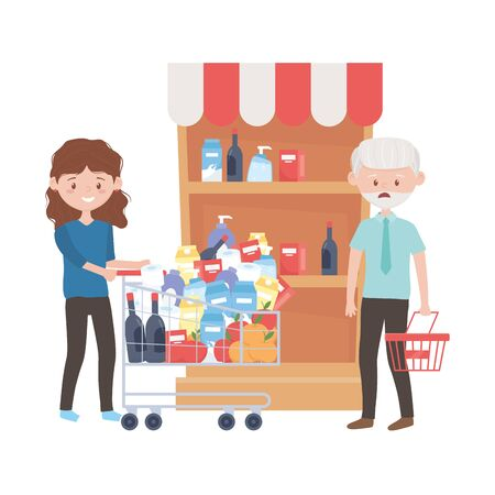 Old man and woman shopping with cart and basket vector design