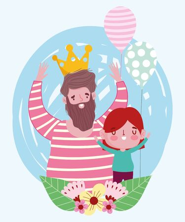 happy fathers day, bearded man wearing crown with her son with balloon