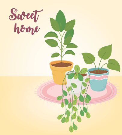 sweet home potted plants on carpet decoration Vectores
