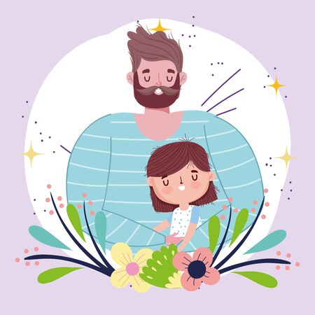 happy fathers day, dad with daughter flowers foliage decoration Vectores