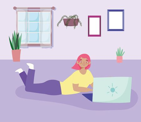 working remotely, woman lying on the floor with laptop,