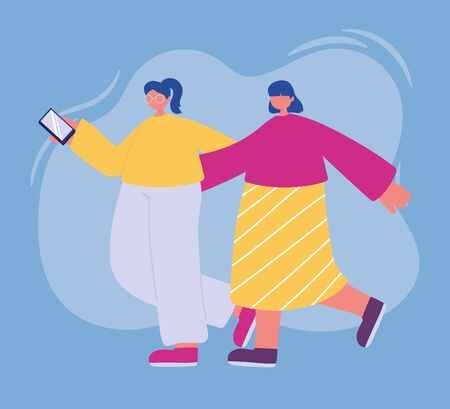 teens walking with smartphone cartoon characters Vectores
