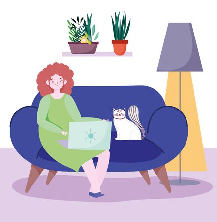 working remotely, young woman and cat on sofa with laptop