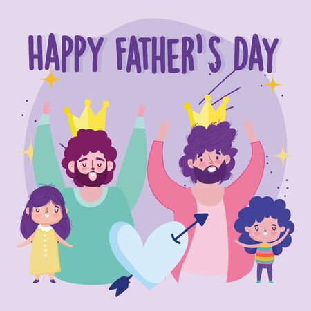 happy fathers day, dads with crowns daughter and son heart love cartoon Ilustrace