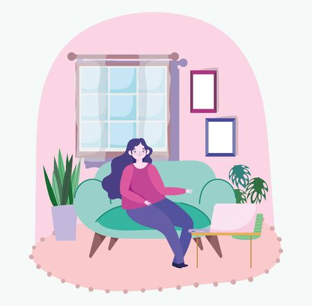 working remotely, young woman sitting on sofa with laptop room plants window