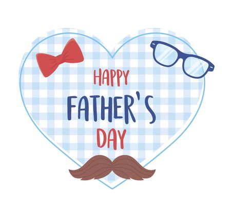 happy fathers day, moustache glasses bow tie background heart Vectores