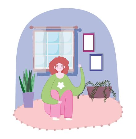 young woman sitting in floor room with potted plants and window design Vettoriali