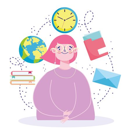 online education, girl with student character world book icons