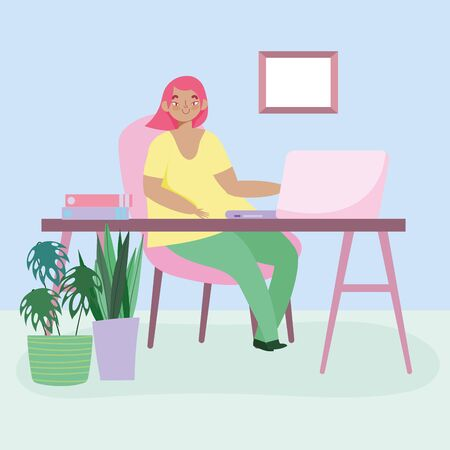 working remotely, young woman work with laptop in desk room with plants