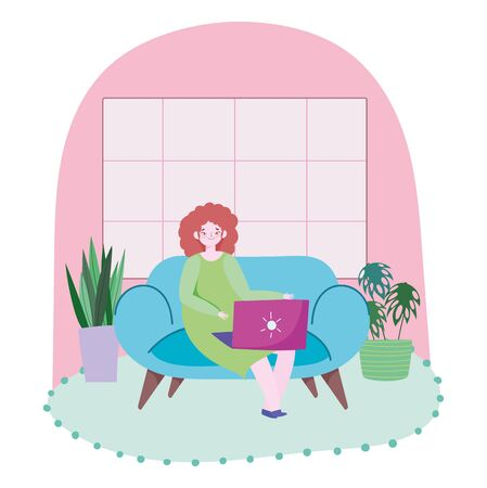 working remotely, young woman work with laptop on sofa room with potted plants and window