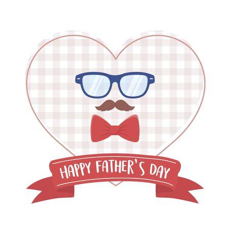 happy fathers day, moustache glasses bow tie heart design Vettoriali