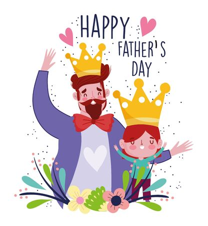 happy fathers day, celebrating dad and son with crowns and flwoers decoration Vettoriali