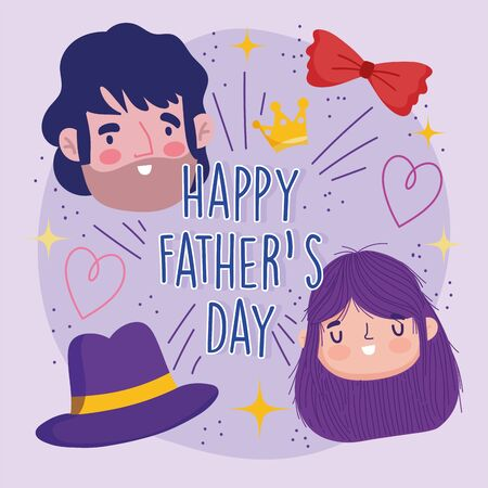 happy fathers day, greeting card dad daughter hat and bow tie celebration 向量圖像