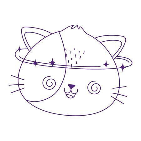kawaii cute crazy cat face cartoon isolated icon