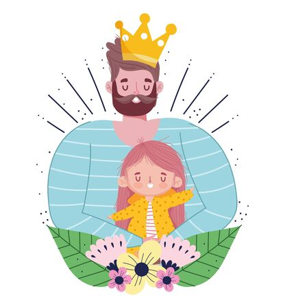 happy fathers day, bearded dad with crown holding daughter in hands