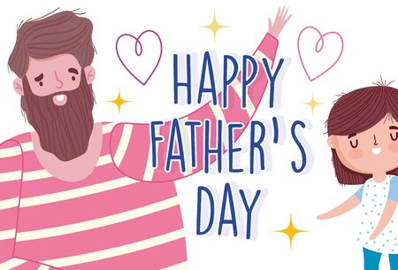 happy fathers day, cheerful dad and daughter clebration party card