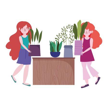 cute girls holding potted plant gardening cartoon Vettoriali