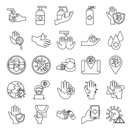 covid 19 coronavirus prevention pandemic disease outbreak icons set line style
