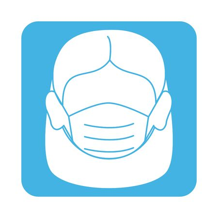 covid 19 coronavirus prevention female face with medical mask block style icon