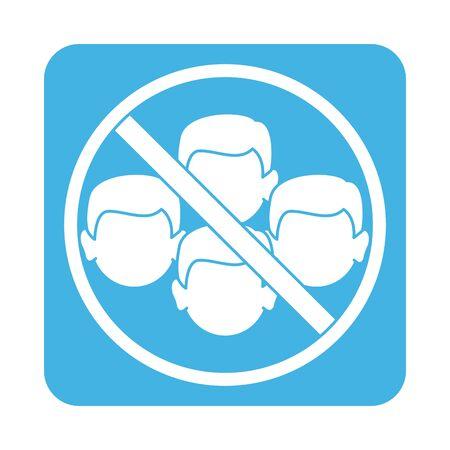 covid 19 coronavirus prevention avoid crowded places block style icon Vektorgrafik