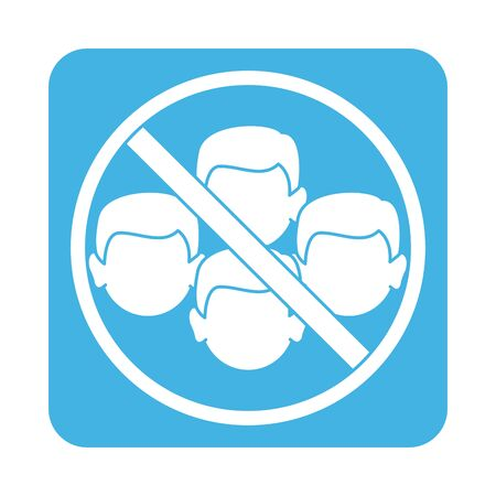 covid 19 coronavirus prevention avoid crowded places block style icon Vector Illustration