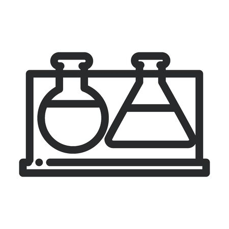 test tube beaker chemical laboratory science and research vector illustration line style icon