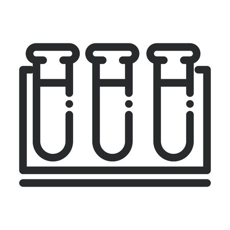 test tube in rack chemical laboratory science and research line style icon Vektoros illusztráció