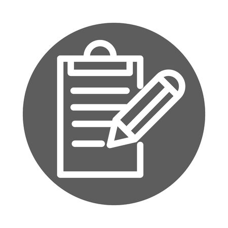 clipboard pencil writing report block style icon