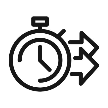 delivery cargo service logistic stopwatch time fast line style icon Stock Illustratie