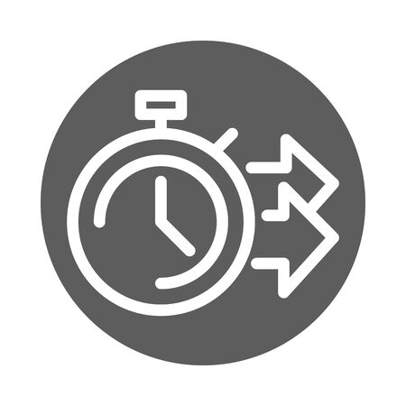 delivery cargo service logistic stopwatch time fast vector illustration block style icon