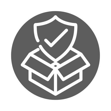 delivery cargo service logistic cardboard box protection check mark vector illustration block style icon 向量圖像