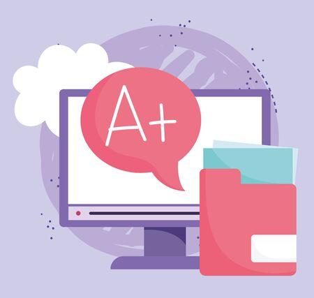 online education, computer folder file data score high lesson vector illustration