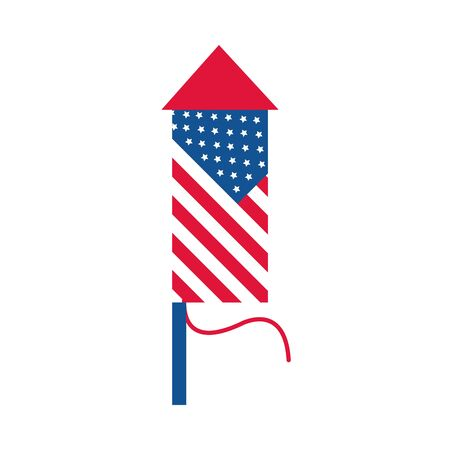 4th of july independence day, fireworks american flag celebration vector illustration flat style icon Çizim