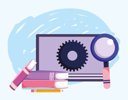 online education, website content stacked books magnifier vector illustration